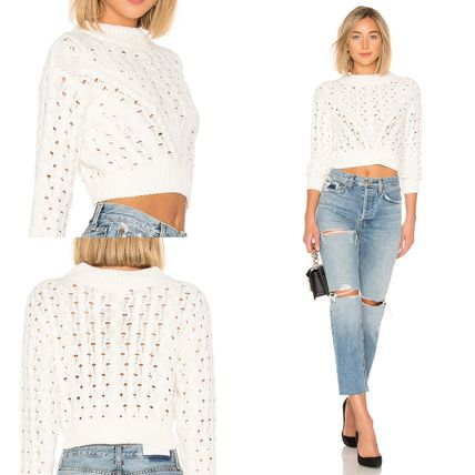 Short Long Sleeves Plain Cotton Cropped