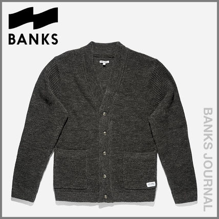 BANKS Knits & Sweaters Button-down Street Style V-Neck Long Sleeves Plain
