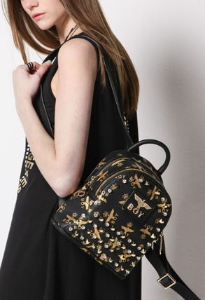 Casual Style Faux Fur Studded Backpacks