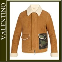 VALENTINO Camouflage Fur Street Style Plain Jackets