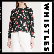 WHISTLES Crew Neck Flower Patterns Casual Style Long Sleeves Medium