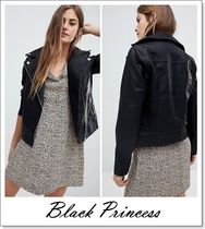 ASOS Short Faux Fur Blended Fabrics Plain Biker Jackets