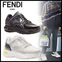 FENDI Blended Fabrics Street Style Plain Leather Sneakers
