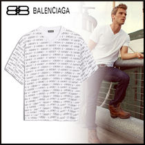 BALENCIAGA Unisex Street Style V-Neck Cotton Short Sleeves Oversized