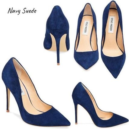 2c6924f1f01 Steve Madden 2018-19AW Suede Plain Pin Heels Pointed Toe Pumps & Mules
