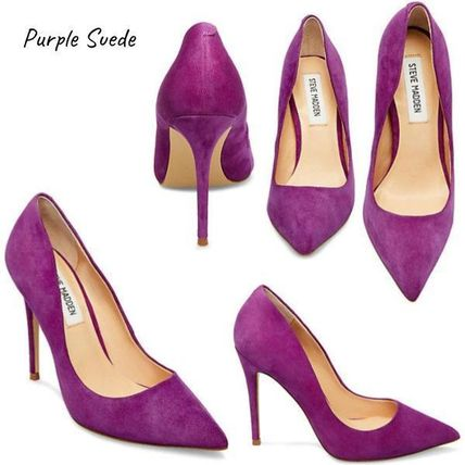 3e6fe852e47 ... Steve Madden Pointed Toe Suede Plain Pin Heels Pointed Toe Pumps   Mules  ...