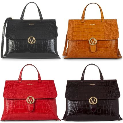 A4 Other Animal Patterns Leather Office Style Handbags
