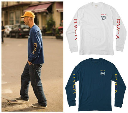 Crew Neck Long Sleeves Cotton Logos on the Sleeves