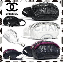 CHANEL Casual Style Nylon Blended Fabrics Plain Fringes Bags