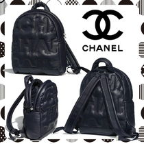 CHANEL Casual Style Unisex Street Style Plain Backpacks