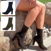 Christian Louboutin Plain Toe Suede Plain Elegant Style Chunky Heels Sock Boots