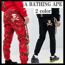 A BATHING APE Printed Pants Stripes Camouflage Sweat Patterned Pants