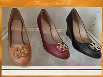 Tory Burch Round Toe Plain Leather Wedge Pumps & Mules