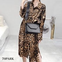 Leopard Patterns Casual Style Street Style Long Sleeves Long