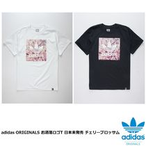 adidas Crew Neck Flower Patterns Unisex Street Style Cotton