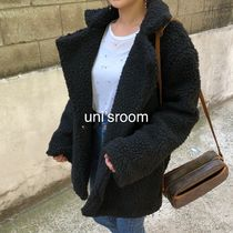 Stand Collar Coats Short Plain Oversized