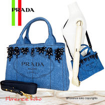 PRADA Casual Style Canvas 2WAY Plain Totes