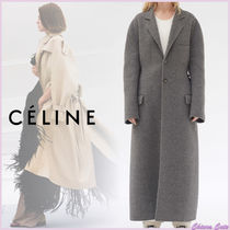 CELINE Wool Plain Long Oversized Elegant Style Chester Coats
