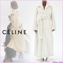 CELINE Fur Plain Long Oversized Cashmere & Fur Coats