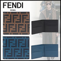 FENDI Monogram Calfskin Folding Wallets
