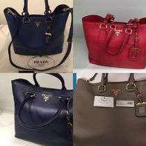PRADA A4 2WAY Plain Leather Elegant Style Totes