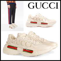 GUCCI Stripes Unisex Street Style Plain Leather Sneakers