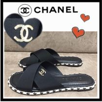 CHANEL ICON Casual Style Plain Sandals