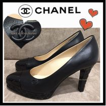 CHANEL ICON Blended Fabrics Plain Leather Elegant Style