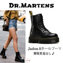 Dr Martens Platform Lace-up Unisex Street Style Plain Leather