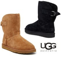 UGG Australia Round Toe Rubber Sole Casual Style Fur Plain