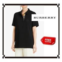 Burberry Casual Style Plain Cotton Short Sleeves Polo Shirts