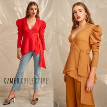 Cameo the Label Casual Style Peplum Long Sleeves Plain Shirts & Blouses