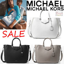 Michael Kors BLAKELY Street Style A4 2WAY Plain Leather Office Style Oversized