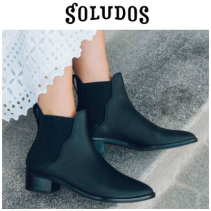 Casual Style Plain Leather Chunky Heels