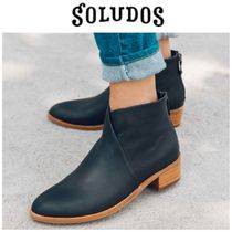 SOLUDOS Casual Style Plain Leather Chunky Heels
