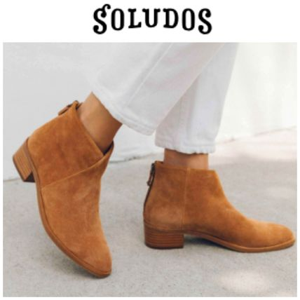 Casual Style Enamel Plain Chunky Heels Ankle & Booties Boots