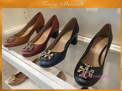 5086e1416da ... Tory Burch Block Heel Round Toe Plain Leather Block Heels Block Heel  Pumps   Mules ...