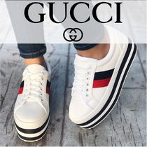 GUCCI Stripes Platform Lace-up Casual Style Street Style Leather