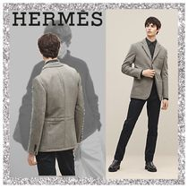 HERMES Wool Plain Blazers Jackets