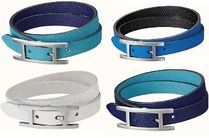 HERMES Unisex Bi-color Plain Leather Bracelets
