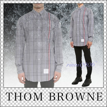 Button-down Other Check Patterns Street Style Long Sleeves