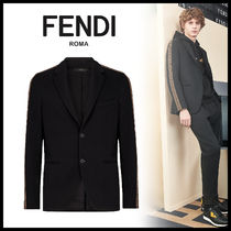 FENDI Short Monogram Plain Blazers Jackets