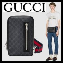 GUCCI GG Supreme Stripes Monogram Unisex Canvas Blended Fabrics 2WAY