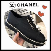 CHANEL Lace-up Casual Style Plain Low-Top Sneakers