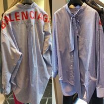 BALENCIAGA Stripes Casual Style Long Sleeves Cotton Long Oversized