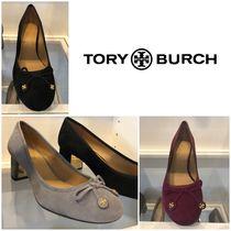 Tory Burch Round Toe Casual Style Suede Plain Block Heels