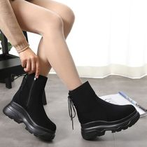 Wedge Round Toe Casual Style Wedge Boots