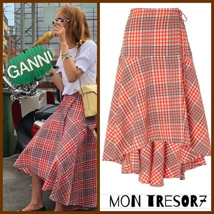 Other Check Patterns Flared Cotton Long Dresses