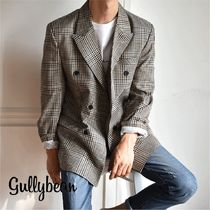 Short Glen Patterns Street Style Bi-color Blazers Jackets