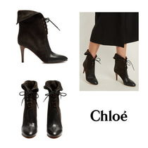 Chloe Casual Style Suede Plain Ankle & Booties Boots